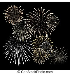 Set of silver and golden fireworks