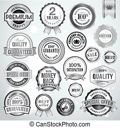 Set of luxury silver badges and stickers for sale and products promotion