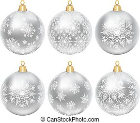 silver baubles - Set of silver baubles with ornament ...