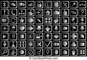 Set of Silver Buttons Icons