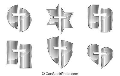 Set of silver christian symbols - vector. - Set of metal ...