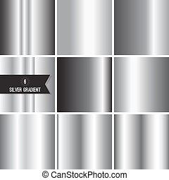Set of silver foil texture background. Collection grey, ...