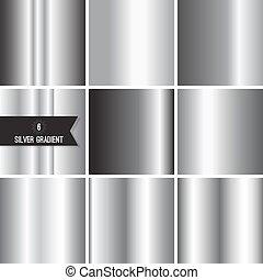 Set of silver foil texture background. Collection grey, chrome vector elegant gradient. Aluminum industrial pattern design.