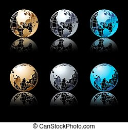 Set of silver, gold and blue globe in black background