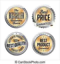 Set of Silver Gold sale badges