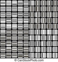set of silver gradient backgrounds, templates, and metal textures vector illustration