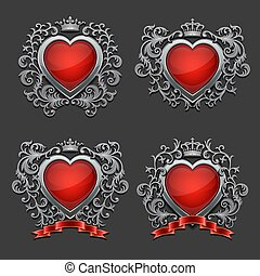Set of silver hearts. Coat of arms