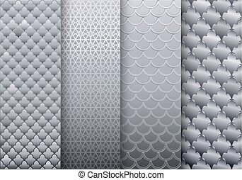 Set of silver textures backgrounds