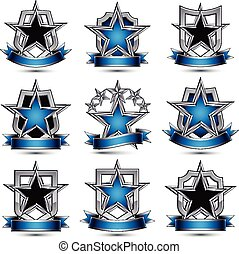 Set of silvery heraldic 3d icons