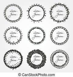 set of simple abstract floral circle border decorations eps10
