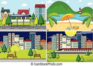 Set of simple background illustration