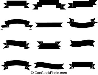 Set of simple Banners - basic non-glossy banners in black isolated on white
