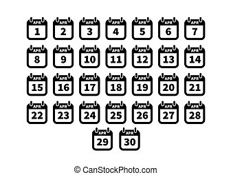 Set of simple black calendar icons on april isolated on white
