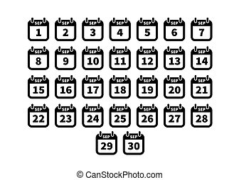 Set of simple black calendar icons on september isolated on white