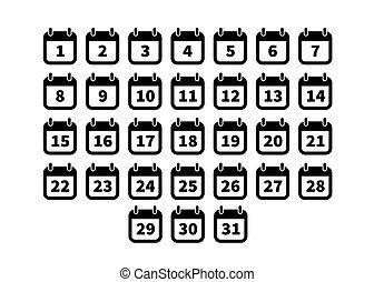 Set of simple black calendar icons on white