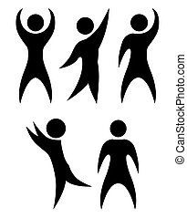 Set of simple black silhouettes of rejoicing and dancing people. The object is separate from the background. Vector element for infographics, icons, logos and your design.