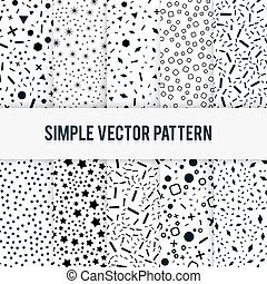 Set of simple chaotic forms of vector pattern on a white background.