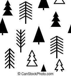 Set of simple Christmas patterns. color illustration of Christmas trees. flat design. winter