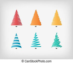 Set of simple colorful vector Christmas trees.