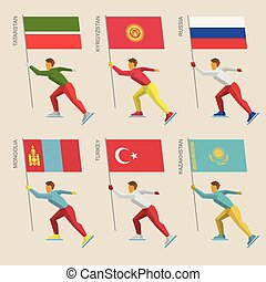 Set of simple flat athletes skating with flags
