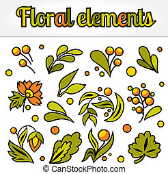 Set of simple floral element.