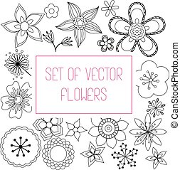 Set of simple flowers