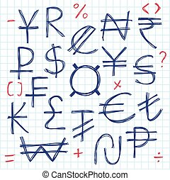Set of simple hand drawn currency signs or symbols. Financial and Accounting