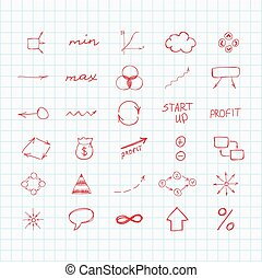 Set of simple hand drawn signs and symbols. Sketch. Business and start up.