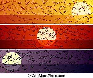 Set of simple horizontal banners with a flock of birds at sunset.