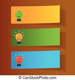 Set of simple icons flat color light bulbs