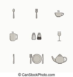 Set of simple icons for utensiles spoon, knife, fork, plate, cup, mug, teapot, salt cellar, pepper pot, wine glass on grey background.