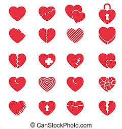 Set of simple icons hearts for Valentine's day, web design, sites, applications, games, stickers?