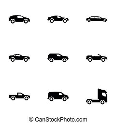 Set of simple icons on a theme Car, vector, design, collection, flat, sign, symbol,element, object, illustration, isolated. White background