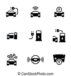 Set of simple icons on a theme Driverless autonomous car. Electric powered car, vector, set. White background