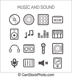 Set of simple icons with musical objects