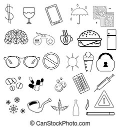 set of simple linear icons without filling. Badges on the topic of addiction, medicine and other. Vector graphics