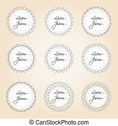 set of simple lines circle border decorations eps10
