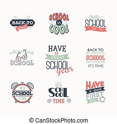 Set of simple logo. Back to school.