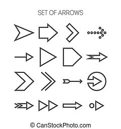 Set of simple monochromatis icons with arrows