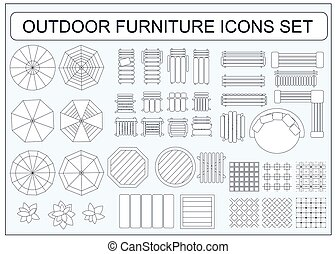 Set of simple outdoor furniture vector icons as design elements