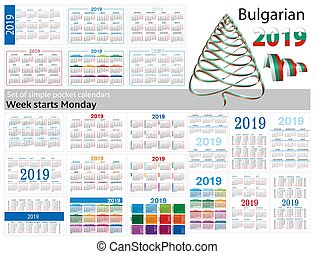 "Set of simple pocket calendars for 2019 (Two thousand nineteen). Week starts Monday. Translation from Bulgarian - ""january, february, march, april, may, june, july, august, september, october, november, december"""