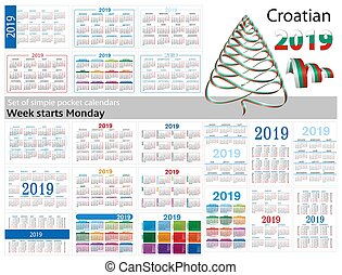 "Set of simple pocket calendars for 2019 (Two thousand nineteen). Week starts Monday. Translation from Croatian - ""january, february, march, april, may, june, july, august, september, october, november, december"""