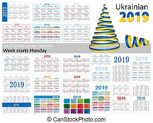 "Set of simple pocket calendars for 2019 (Two thousand nineteen). Week starts Monday. Translation from Ukrainian - ""january, february, march, april, may, june, july, august, september, october, november, december"""