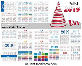 "Set of simple pocket calendars for 2019 (Two thousand nineteen). Week starts Monday. Translation from Polish - ""january, february, march, april, may, june, july, august, september, october, november, december"""