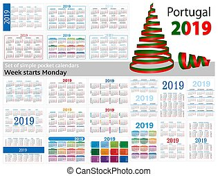 "Set of simple pocket calendars for 2019 (Two thousand nineteen). Week starts Monday. Translation from Portugal - ""january, february, march, april, may, june, july, august, september, october, november, december"""