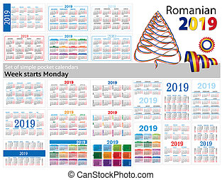 "Set of simple pocket calendars for 2019 (Two thousand nineteen). Week starts Monday. Translation from Romanian - ""january, february, march, april, may, june, july, august, september, october, november, december"""