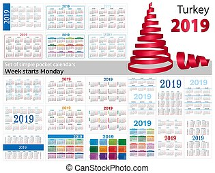 "Set of simple pocket calendars for 2019 (Two thousand nineteen). Week starts Monday. Translation from Turkey - ""january, february, march, april, may, june, july, august, september, october, november, december"""
