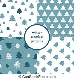 Set of simple retro Christmas patterns. Winter background. Endless textures in blue colors