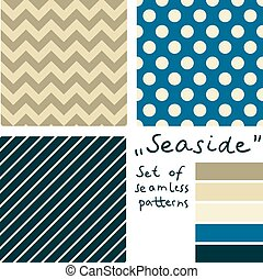 Set of simple seamless geometric patterns. Seaside color palette.