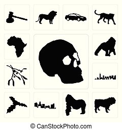 Set of simple skull outline on white background, bulldog gorilla, north carolina state mistletoe background icons